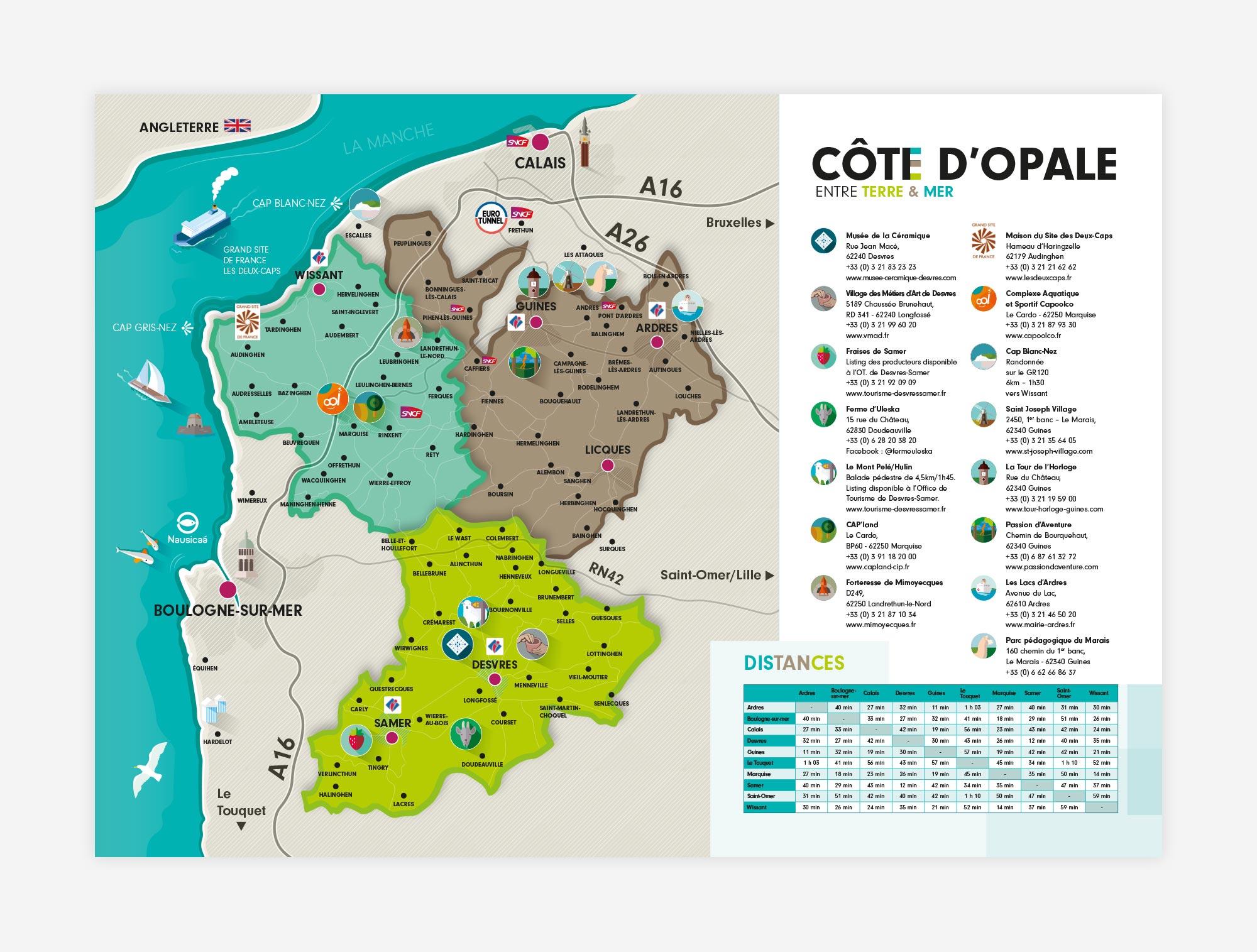 Carte touristique Côte d'Opale